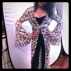 Duster Shirt Dress Floral & Lace & Bell Sleeves